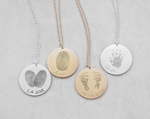 20% OFF Actual Fingerprint Necklace - Personalized Handprint Necklace - Baby Footprints Necklaces - Meaningful Mother's Day Gifts PN03.22