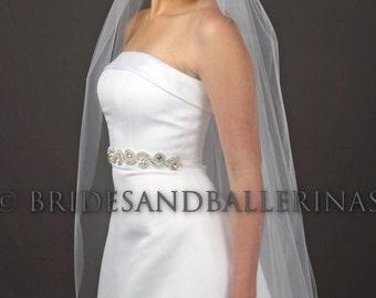1 Layer Veil, Waltz Length Veil, Bridal Veil, White Wedding Veil, Ivory Veil, Raw Edge Veil, All Lengths, Fast Shipping! Wedding Veil Bliss