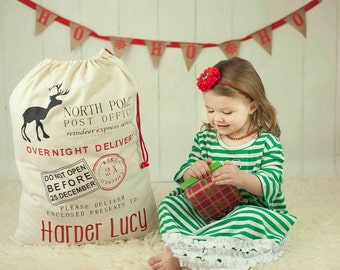 Personalized santa sack / personalized Christmas sack with drawstring