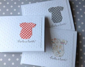 Baby Thank You Cards - Baby Shower Thank You - Thank You Note Cards - Handmade Card Set - Onesie Cards - Thank You Card Set - Baby Cards