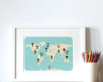 Sale! back to school! educative poster for children and/or teacher- children' world