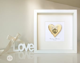 Wedding Personalized gift - Anniversary gift customized - Love Couple hearts pendant - antique bronze - framed under glass