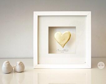 Marriage Personalized Wedding Gift - Custom Framework Anniversary Gift, Valentine Gift couple - Art Frame 3D Heart - framed - customized