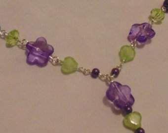 Green & Purple Beaded Tone Necklace