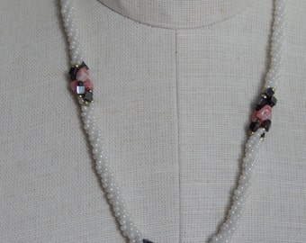 Nice Vintage White Bead Twist Necklace with Pink And Black Stone Accents Twist Rope Necklace