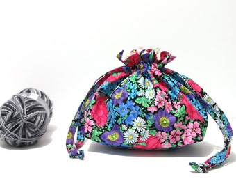 Drawstring knitting bag, black cotton project bag with bright flowers