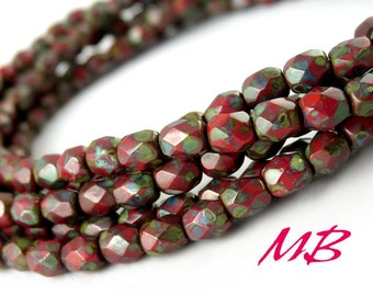 4mm Luster Red Picasso Faceted Glass Beads, Dark Red Czech Fire Polished 4mm