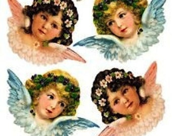 Stickers-Angels-Decoupage-Collage-Mixed Media-Scrapbooking-Clear Stickers-2 Sheets-Violette Stickers