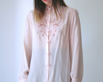 Vintage Powder Pink Delicately Embroidered Mandarin Collar Silk Blouse