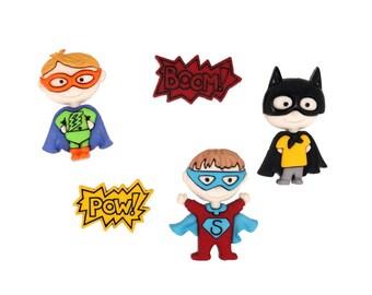 Be My Super Hero Jesse James Buttons Boy Comic Book Costume Black Batman Mask Red Blue Superman Green Lantern Arrow Flash Cartoon Set of 5