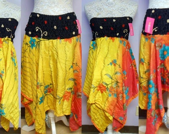 Handmade  Silk Skirt or Dress Diamond Cut Gypsy Hippie Chic BOHO NEW