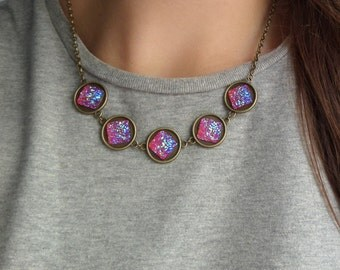 Holographic necklace etsy dragons breath opal necklace faux druzy necklace holographic necklace fairy kei necklace teen girl lolita holographic mozeypictures Image collections