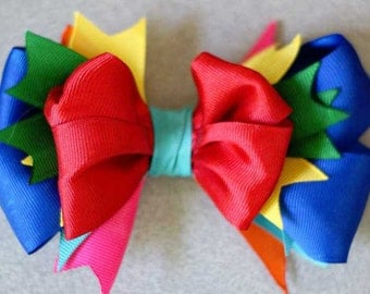 Boutique Double Layer Bow Rainbow Spikes Hairbow by CAROLINA KIDS