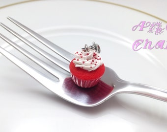 Red Velvet Cupcake Charm, Jewelry, Handmade, Polymer Clay Food, Cupcakes, Charms, Food Charms, Miniature Food Jewelry, Valentine's Day