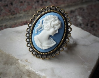 Greek Goddess Ring, Cameo Ring, Blue Cameo Ring, Bronze Ring, Bronze Adjustable Ring, White Cameo Ring, Statement Ring, Oval Ring