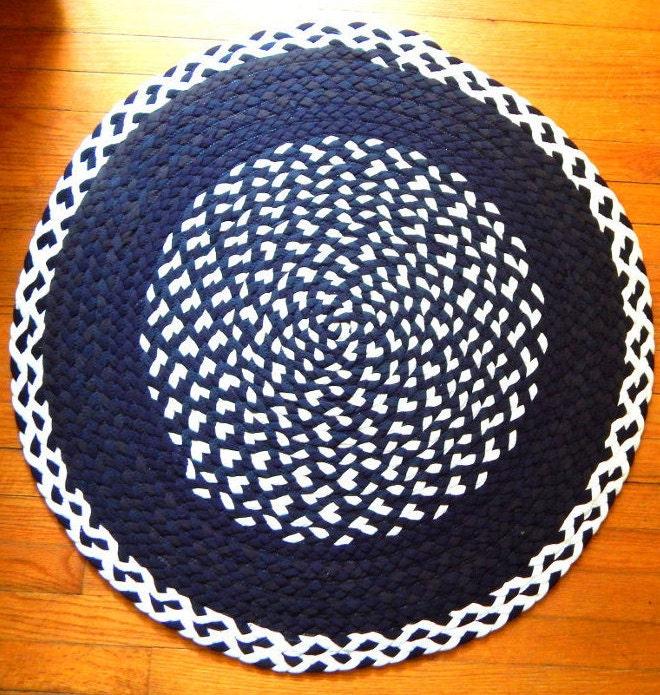 Braided Tshirt Rug Black & White Rug Upcycled Tshirt Rug