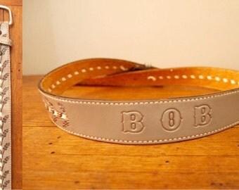 Tooled Leather Belt - Tooled Name Belt - Western Belt Leather Womens Mens - Grey Gray 36