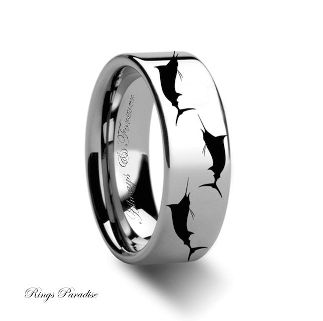 Mens Tungsten Wedding Band Marlin Fish Sea Print Pattern
