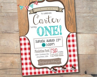 Picnic Party Invitation, Picnic Birthday Party, Summer Birthday Party Ideas, Teddy Bears Picnic Invite, First Birthday Ideas, 1st Bday Party