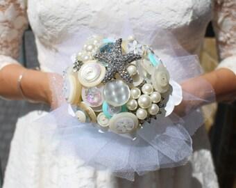 Beach wedding bouquet - button bouquet - brooch bouquet - unique wedding bouquet - seaside wedding - ivory bouquet - pearl bouquet