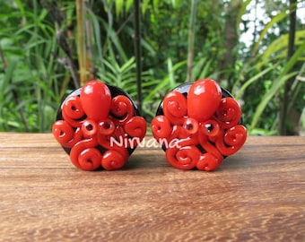 "Red Octopus on Black Plugs Pyrex Glass One Pair - 00g 7/16"" 1/2"" 9/16"" 5/8"" 3/4"" 1"" 9.5 mm 10 mm 12 mm 14 mm 16 mm 18 mm 20 mm 25 mm"