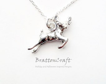 Sterling Silver Flying Reindeer Necklace - Silver Reindeer Necklace - Christmas Necklace - Christmas Jewelry - Holiday Necklace