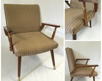 Vintage Mid Century Chair, Mid Century Modern Chair, Retro Upholstered 60's Chair.