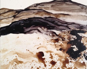 Black Mountain 2 original painting abstract landscape ink and pigment on cotton stretched canvas