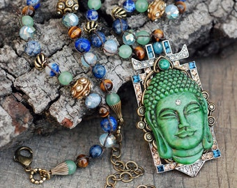 Buddha Necklace, Yogo Necklace, Buddha Pendant, Zen Necklace, Boho, Gypsy, Mala Necklace, Meditation Jewelry, Yoga Jewelry, Buddha N1346