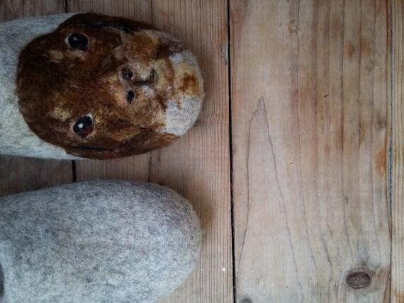 Customizable felt Dachshund portrait slippers Dog art using your photos