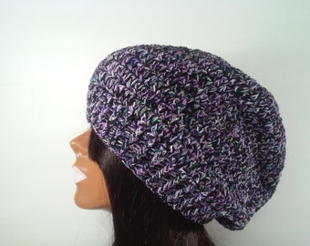 Black and purple slouchy beanie, upcycled beanie, purple slouchy beanie, echo slouchy, black slouchy beanie, purple hat, womens slouchy hat