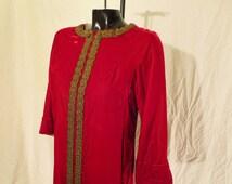 Size 12 Red Velvet Costume Dress Robe w/ Metallic Ribbon Trim, 3/4 Length Sleeves, Ankle Length, Zipper Front, Fully Lined w/ Pink Satin