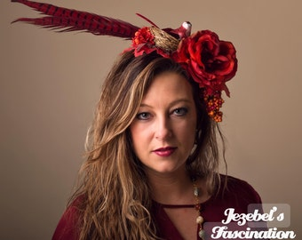 Demeter Harvest Goddess Flower Headdress Bird Nest Red Rust Orange Pheasant Floral Fascinator Feather Autumn Fall Maple Leaf Rose Headpiece