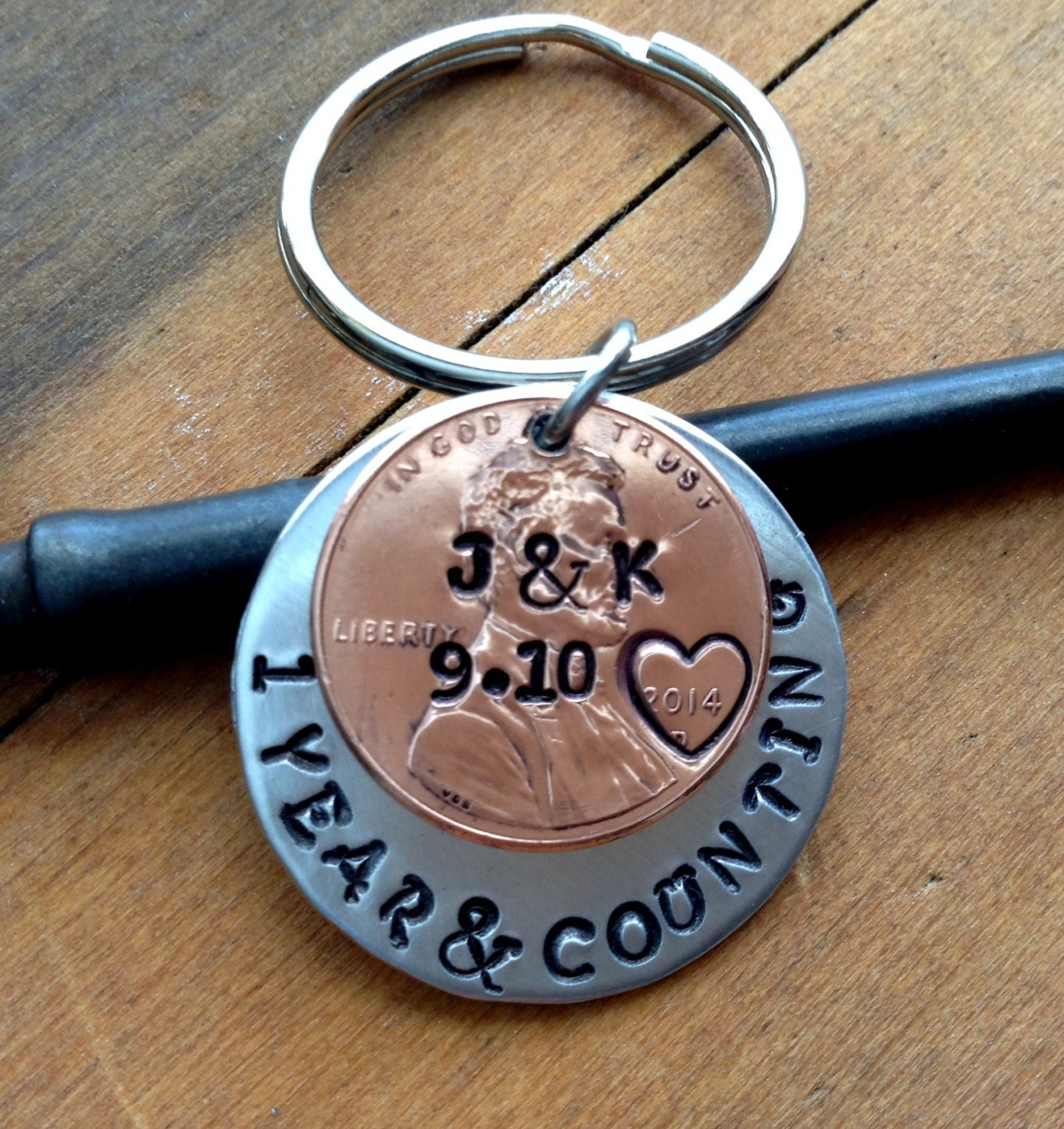 1 Year Anniversary Keychain Personalized Gift Hand Stamped