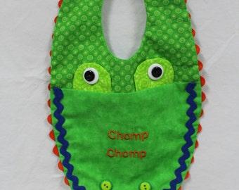 UF, Florida Gator baby bib embroidered  with Chomp Chomp, gator baby bib, University of Florida Gator baby bib, Baby Gift, Baby shower gift
