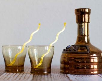 Vintage Pair of Libbey Amber Water Glasses