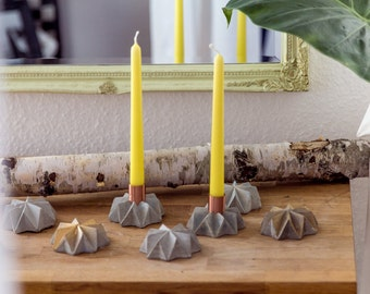 Concrete Copper Candleholder , Candlestick in Copper and Concrete , Origami Candlestick