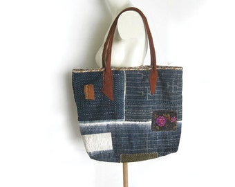 Tote Hand Stitched, Indigo, Patched Bag with Brown Leather Handles Blue Kantha
