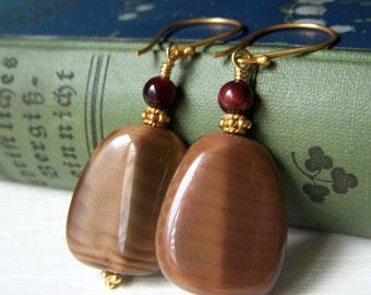 Chocolate Brown Earrings, Czech Glass Earrings, Brown Satin Earrings, Chocolate Silk, Large Glass Earrings, Gold Glass Dangle, Silky Brown