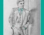 "11""x14"" PRINT Man in Suit by Leslie Berg with color and digital mat matte matt matting"