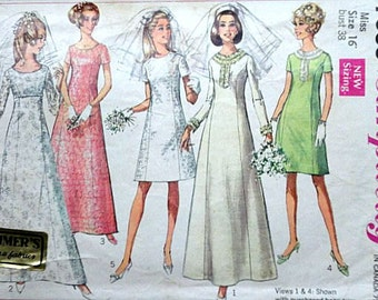 Misses' Wedding Dress or Bridesmaids' Dress in Two Lengths, Simplicity 7538 Vintage 60's Sewing Pattern, Size 16, 38 Bust