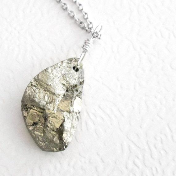 Real Pyrite Pendant, Raw Stone Necklace, Men's Jewelry, Semiprecious Gemstone