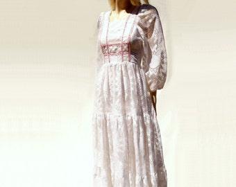 70s White Boho Dress, Vintage Lace Maxi, 70s Wedding Dress, Boho Lace Dress, 1970s Vintage Dress, 70s Boho Maxi, 70s Boho Wedding, s