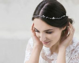 Wedding  Headband  , Bridal Hair Vine , Wedding Hair Accessories , Pearl Hair Accessory ,Ivory Pearl Headband , Swarovski  Wedding Hair Vine