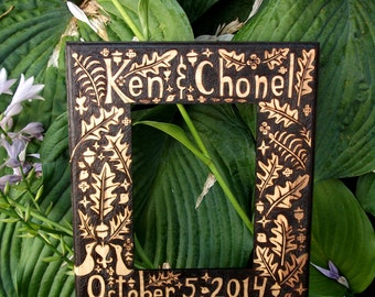 custom personalized frame- oak acorn fall autumn-wedding anniversary free-hand artist decorated wood burned - ready to hang