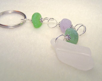 Sea Glass Keychain Beach Key Chain Unique Keychains for Women Gift Ideas for Her Real Sea Glass Key Accessories Wire Wrapped Silver Keyring