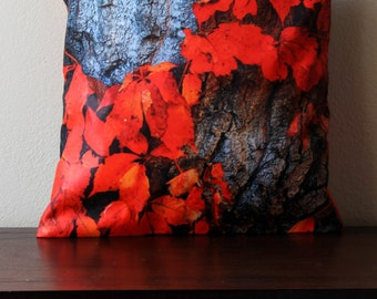 Autumn Leaf Pillow Cover, Red Autumn Leaf, Pillow Cover, Home Decor , Autumn Home Decor, Red, Grey, Colorado, Colorado Gift