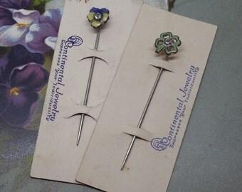 2 New-Old-Stock Enamel Pansy & Shamrock StickPins Hat Pins Scarf Pins Stick Pins    MBU33