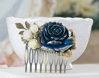 Something Blue Wedding Hair Comb Gold Navy Dark Blue Ivory Rose Flower Leaf Branch Bridal Hair Comb Victorian Shabby Country Chic Goth Hair