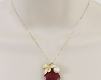 Garnet Necklace, Initial Necklace, Mothers Necklace, Sister Necklace, Natural Stone, Personalized Womens, Statement Necklace, Gold Necklace